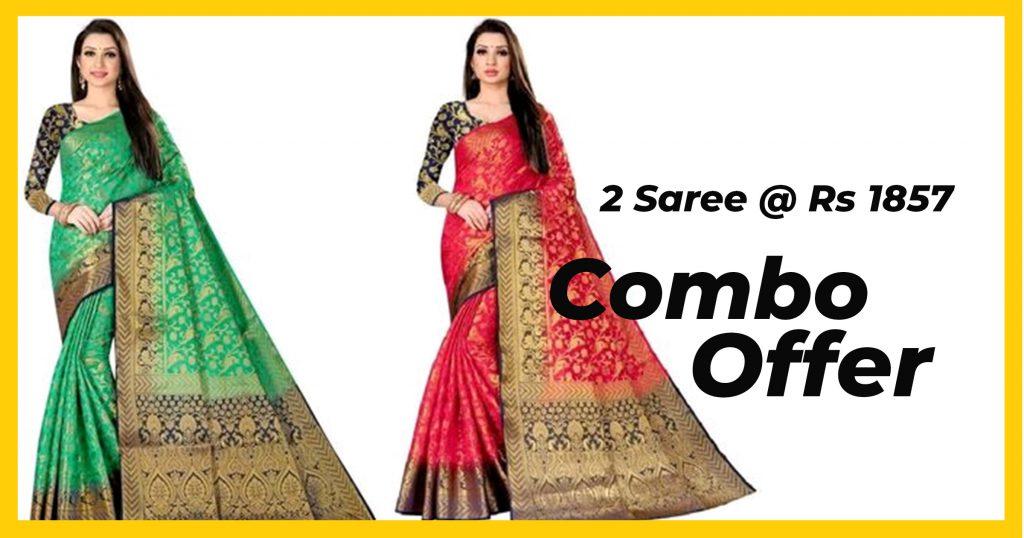 Combo offer on jacquard fabric saree